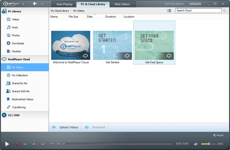 realPlayer Cloud user interface