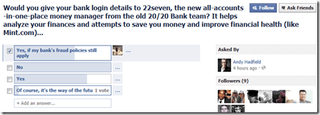 22seven - Facebook Poll security