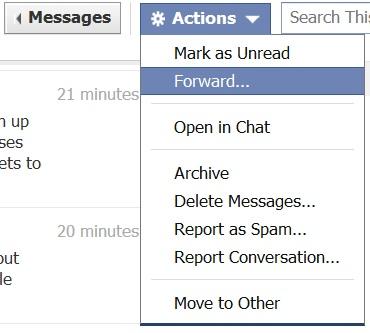 facebook message forwarding