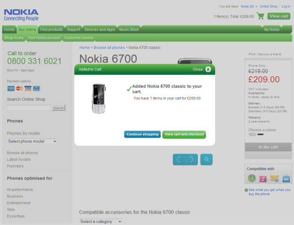New Nokia online shop (Select Product)