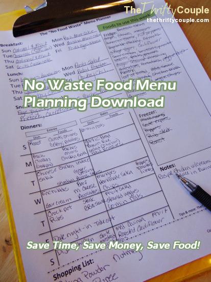 Free Weekly Menu Planner Download - No Food Waste Menu Planner - The