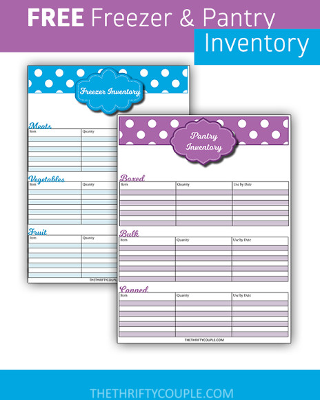 Take Back Your Finances #18 Create Freezer and Pantry Inventory - inventory sheets printable