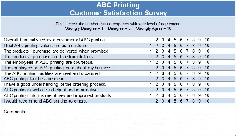 Customer Satisfaction Questionnaire Template \u2013 The Thriving Small