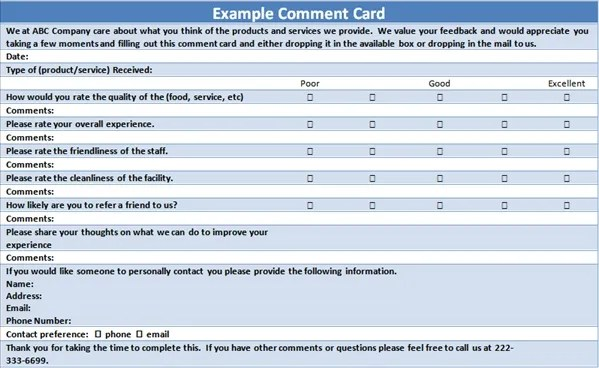 comment card examples - Selol-ink