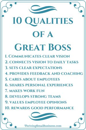 How to Be a Good Boss - 10 Qualities of a Good Boss - characteristics of great employees