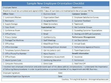 Sample New Employee Orientation Checklist \u2014 The Thriving Small Business - new hire checklist template