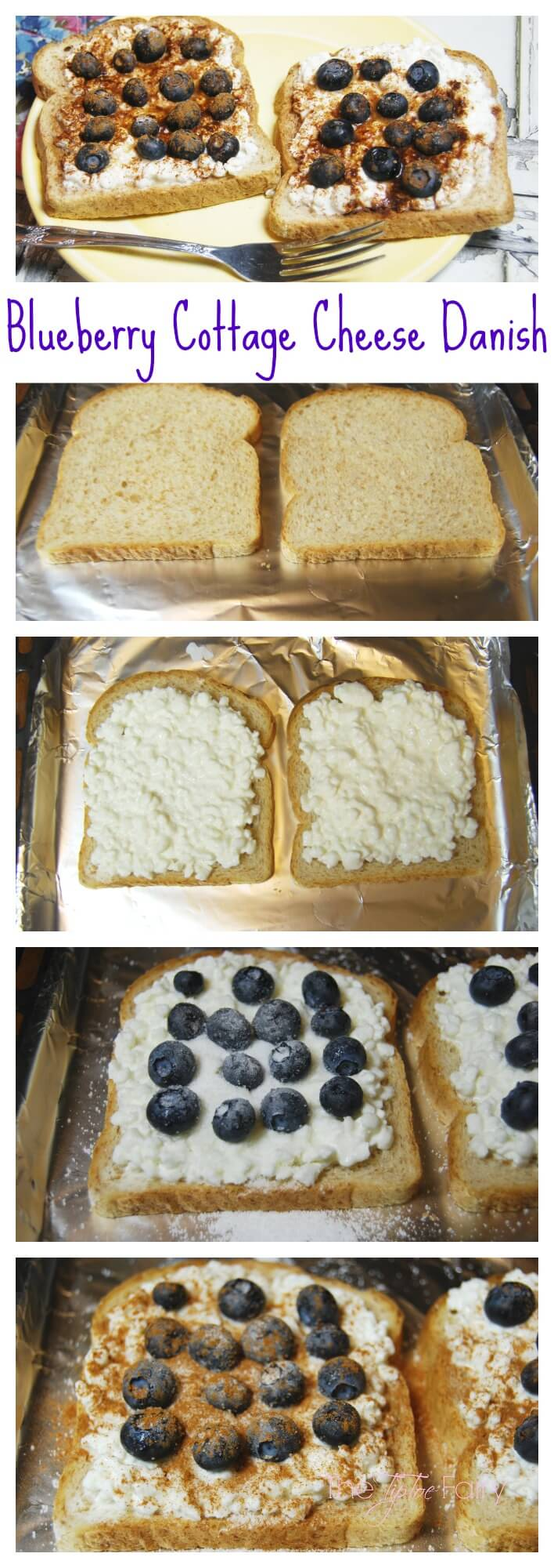 Blueberry Cottage Cheese Danish - a quick and delicious meal to start your New Year's resolution off right. With less than 300 calories for TWO! | The TipToe Fairy #LittleChanges #IC #ad