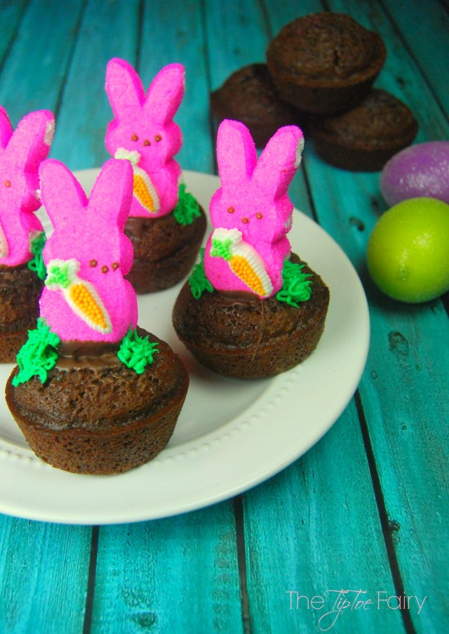 Easy PEEPS® Bunny Brownies - perfect for Easter. Come join us for The PEEPS® Blog Hop - full of recipes, crafts, and more!   The TipToe Fairy #PEEPSONALITY