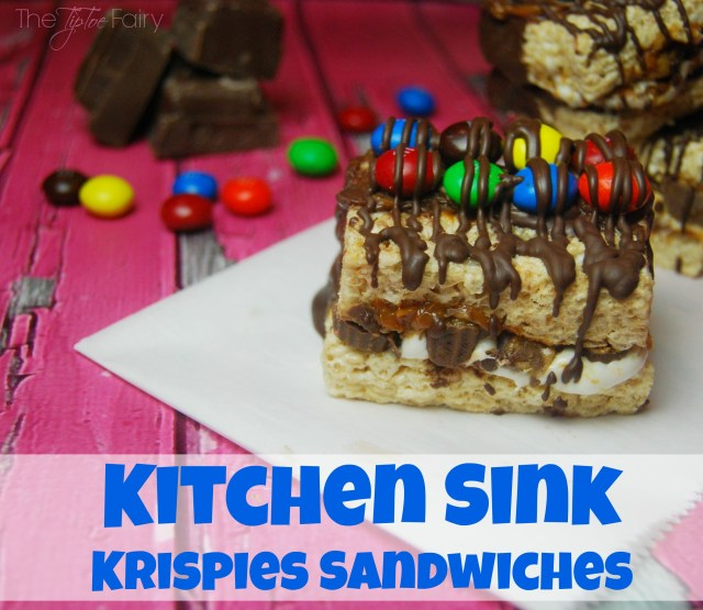 Kitchen Sink Krispies Sandwiches - fun snack and feel-good treat.  An easy hack for ready made Rice Krispies Treats full of marshmallow butter, dulce de leche, chocolate, and more! | The TipToe Fairy #KreateMyHappy #Ad