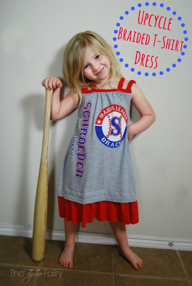 How to make an Upcycle Braided T-shirt Dress | The TipToe Fairy #ad #RadiantLaundry