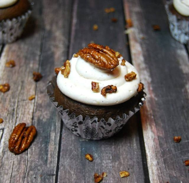 Chocolate Bourbon Pecan Pie Cupcakes - simply amazing for the Kentucky Derby or anytime!   The TipToe Fairy