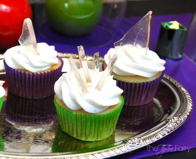 Halloween Shards of Glass Cupcakes - learn to make the sugar glass, perfect for parties! | The TipToe Fairy
