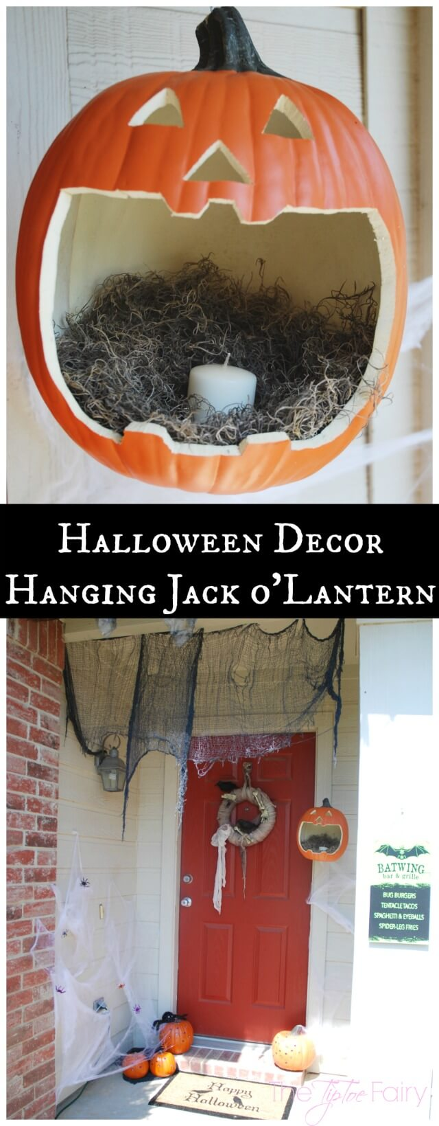 Make a Hanging Jack o'lantern - perfect for Halloween night! #TrickorSweet #ad | The TipToe Fairy