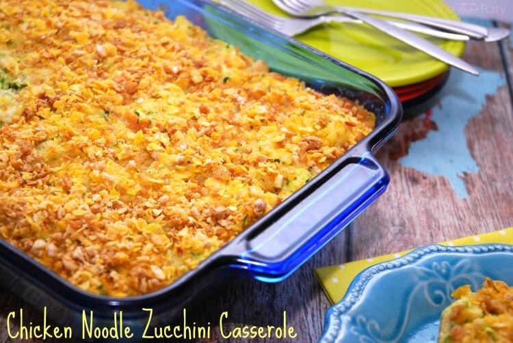 Have #CerealAnytime w this easy Chicken Noodle Zucchini Casserole! #AD #food #foodie