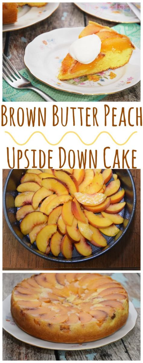 Brown Butter Peach Upside Down Cake & Clean up a Springform Pan