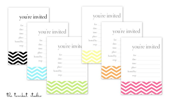 HGTV} Free Printable Chevron Invitations  Favor Tags in 6 Colors