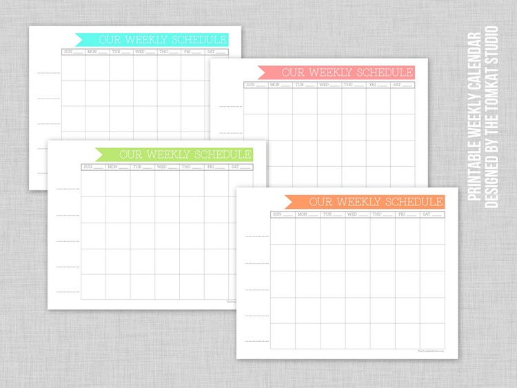 Free Printable Weekly Family Calendar The TomKat Studio Blog - free printable weekly calendar