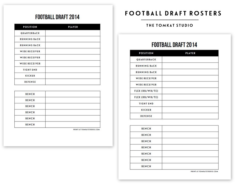 Free Printable Football Roster The TomKat Studio Blog - football roster template