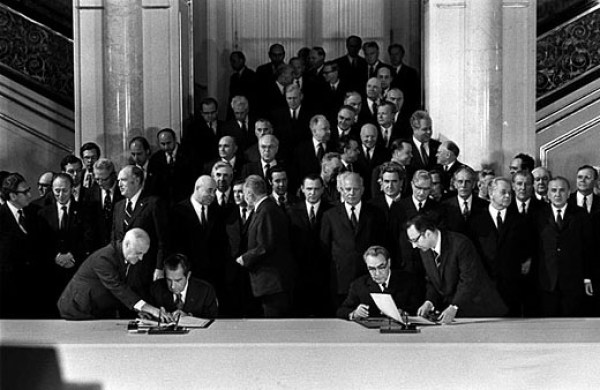 FILE--President Nixon and  Soviet Communist Party leader Leonid Brezhnev afix their signatures to the Strategic Arms Limitations agreement in Vladmir Hall of the Kermlin, Moscow, in this May 26, 1972, file photo. Offering a ``clear and clean break from the past,'' Bush denounced the 29-year-old arms control treaty with Russia as a Cold War relic, Tuesday May 1, 2001, but softened his remarks by pledging to reduce U.S. nuclear arsenals.  (AP Photo/File)