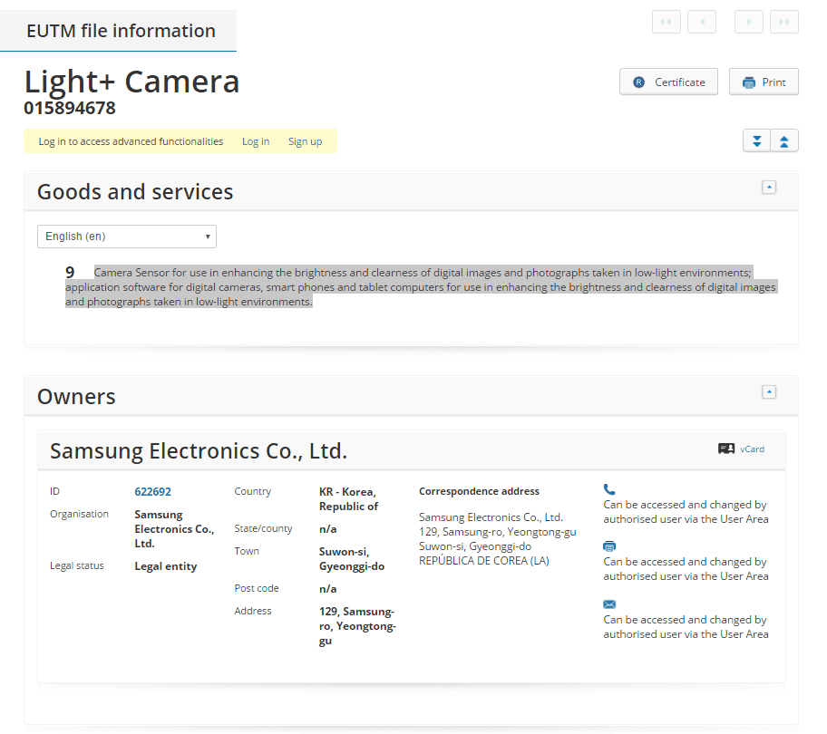 samsung-light-camera-eu-trademark-details