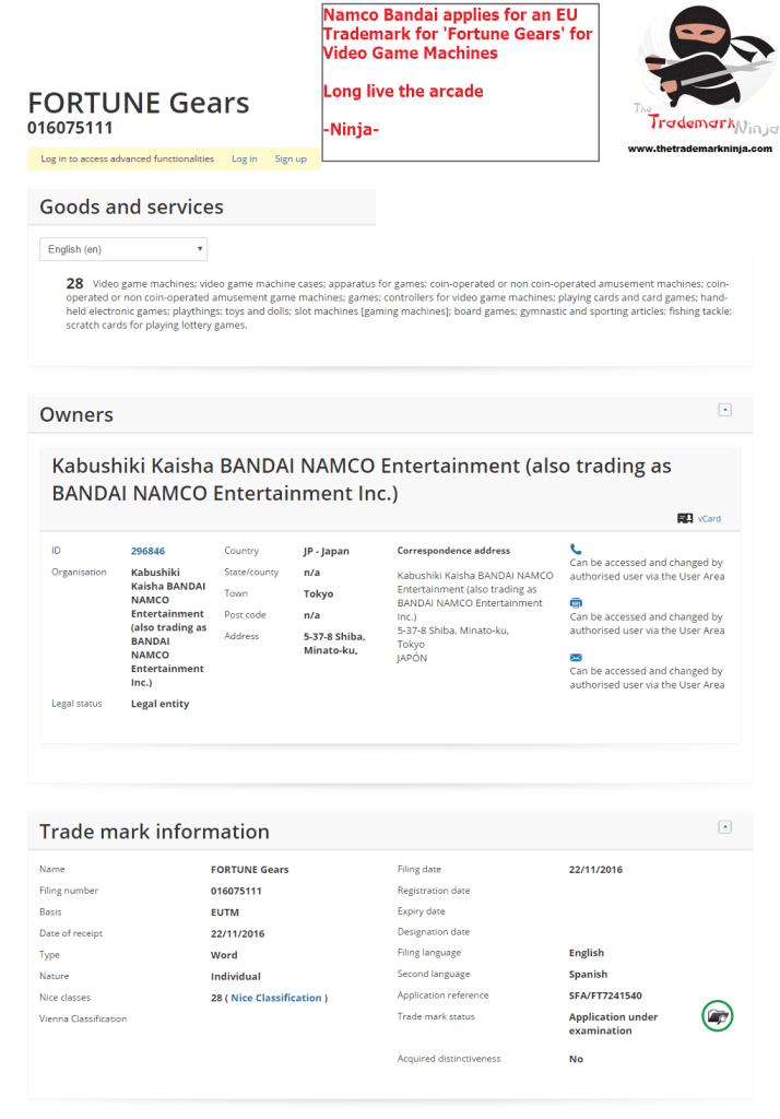 Bandai Namco applies for EU Trademark for Fortune Gears <a href=