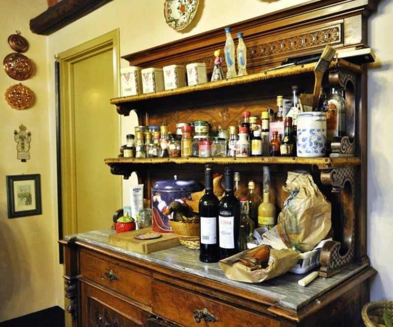 A Sicilian dresser full of condiments