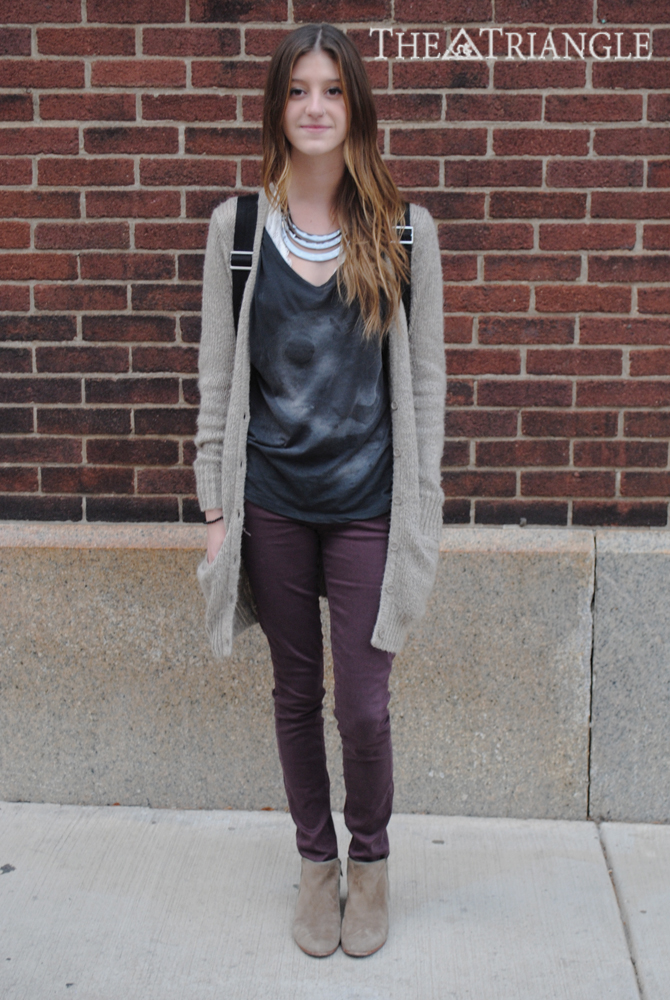 Wearing: Topshop shirt, Free People bandeau, Paige jeans, Forever 21 cardigan and necklace, and Sam Edelman shoes