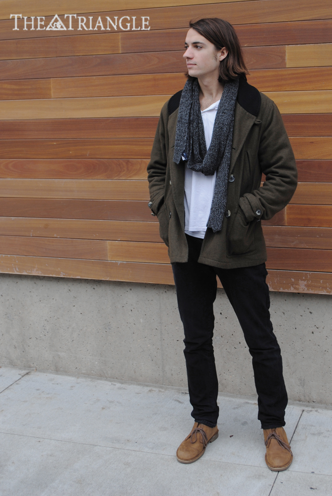 Wearing: H&M shirt, Levi's jeans, Urban Outfitters coat, Gap scarf and Clarks boots