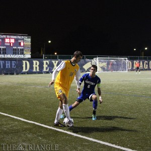 Senior midfielder Ken Tribbett looks to make a play during Drexel's 1-1 draw against Hofstra University Oct. 30 at Vidas Field. Before the match, eight graduating student-athletes were recognized on Senior Night for the Dragons. Tribbett finished the season with four goals and two assists.