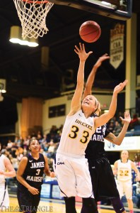 Senior Fiona Flanagan shoots versus James Madison. Flanagan averages 8.4 points per game, good for second on the team.