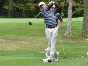 Drexel sophomore Chris Crawford (front) takes a swing at the Leo Keenan Invitational. (Drexel University Golf)