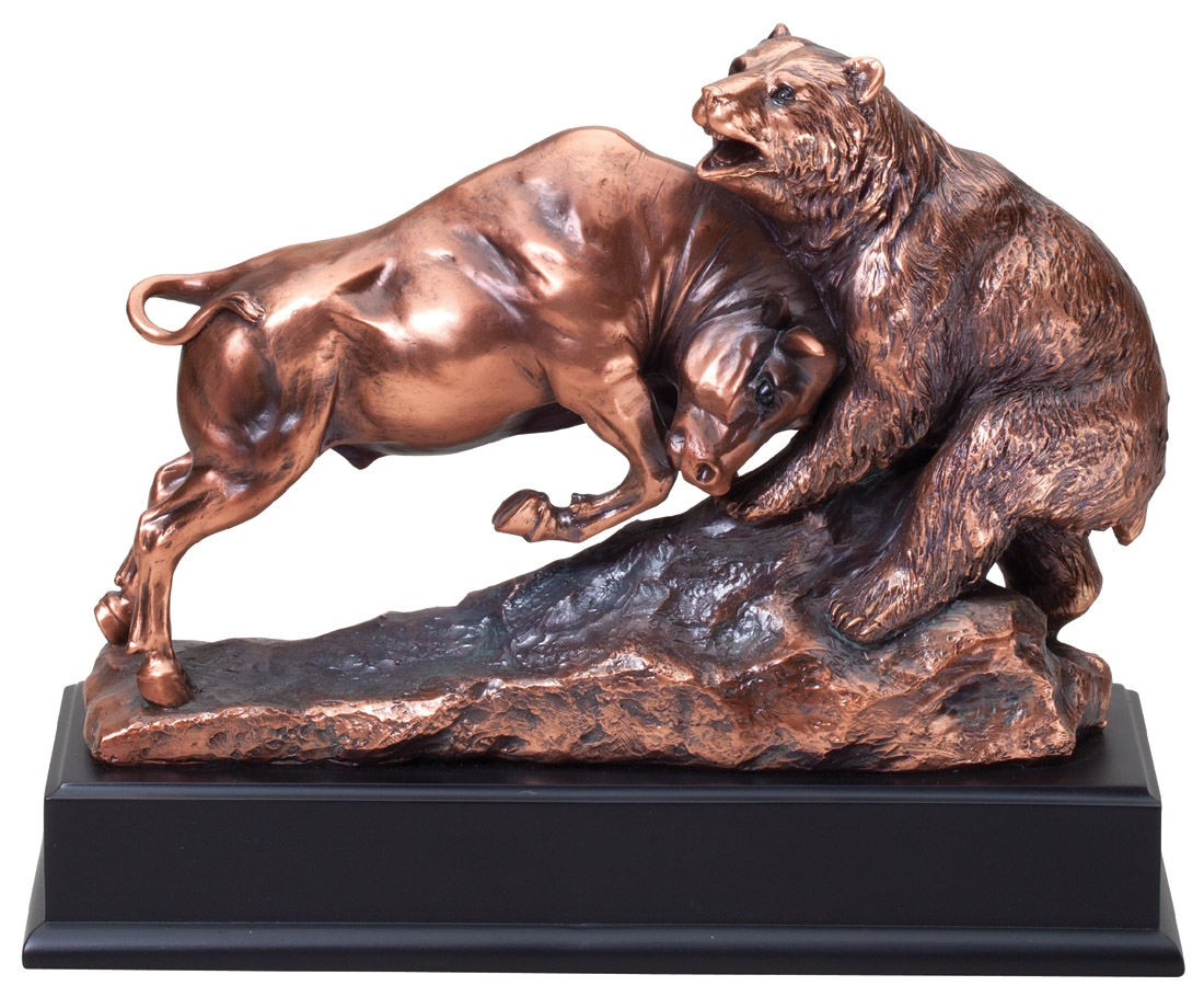 Bull And Bear Gifts Bull And Bear Bronze Resin Award Sculpturetrophy Trolley