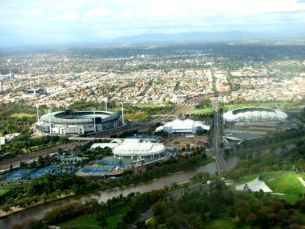 Melbourne Park & MCG seen from the Skydeck