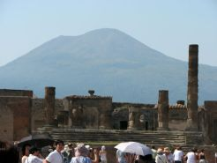 Vesuvius looming over Pompeii