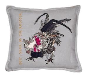 Linen Cushion Yr OT Rooster