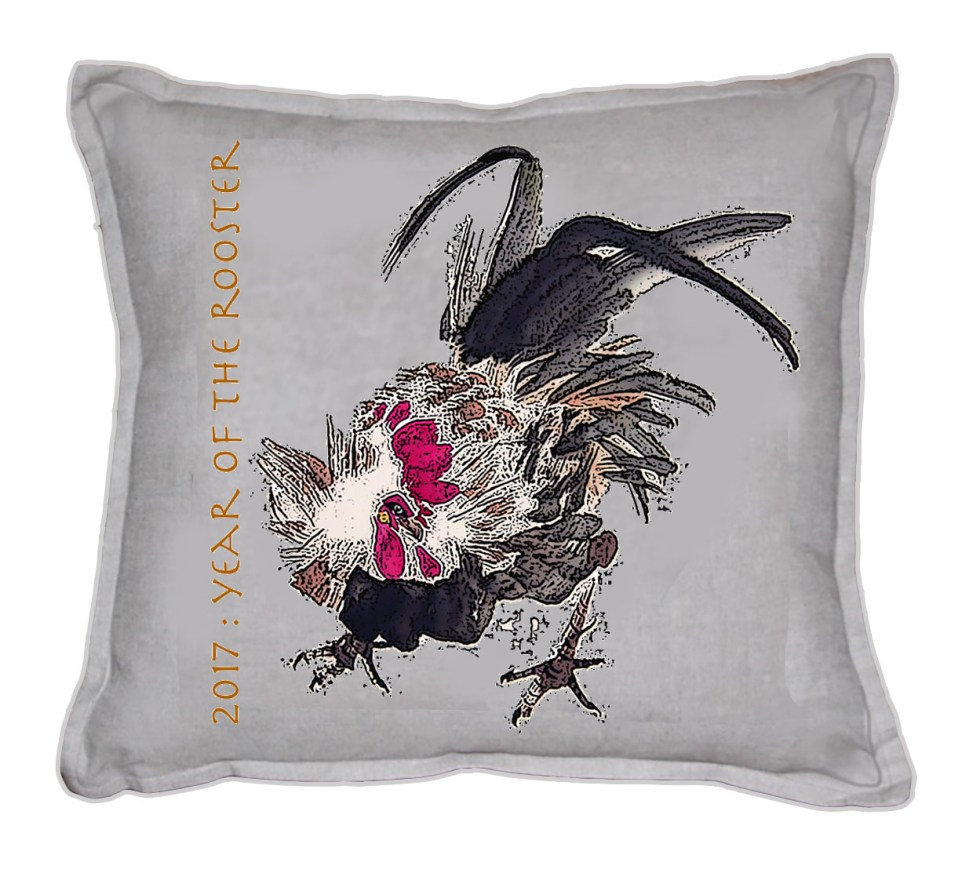 Linen Cushion Yr OT Rooster