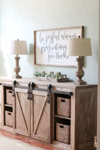 DIY Farmhouse Media Console Table | The Turquoise Home