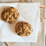 two grain-free, dairy-free cookies, paper towel