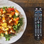 summer salad with tv remote
