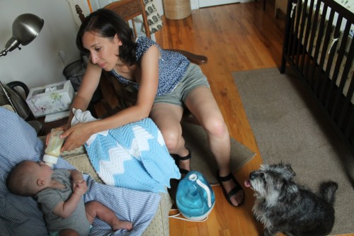 I am the one in the middle. Baby is on the left, dog on the right. The humidifier is the blue thing on the floor in the center.