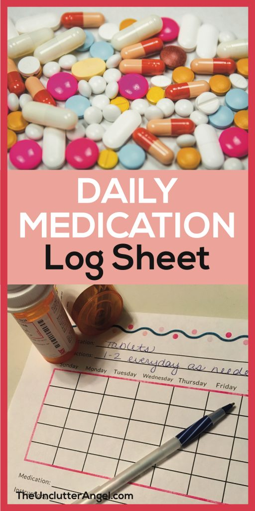 Free Printable Daily Medication Log Sheet - The Unclutter Angel