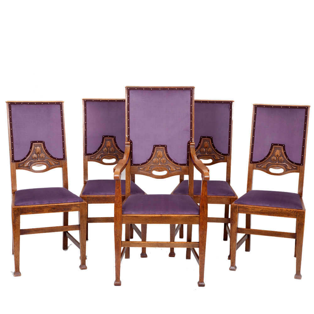 Designer Sofas For Sale Uk Set Of 5 Arts & Crafts Dining Chairs - The Unique Seat Company