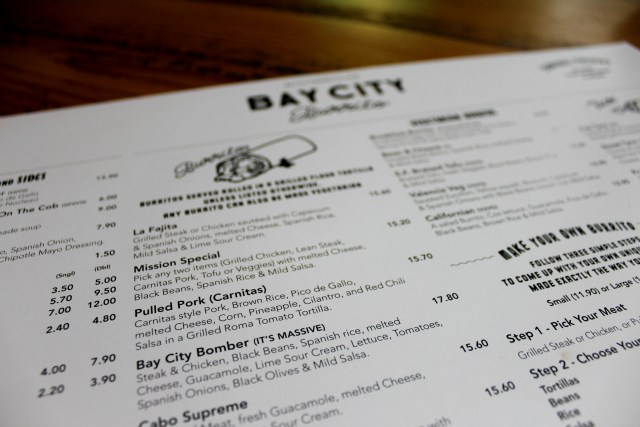 Bay City Burrito menu