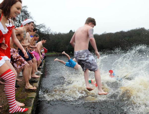 Taking the plunge at Blackroot Pool at Sutton Park