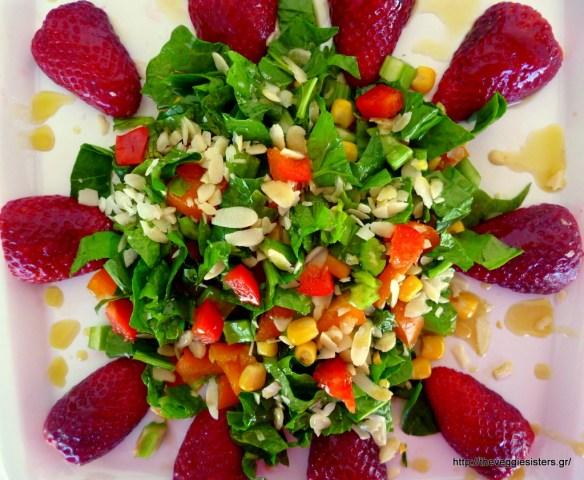 Strawberry multicolored salad