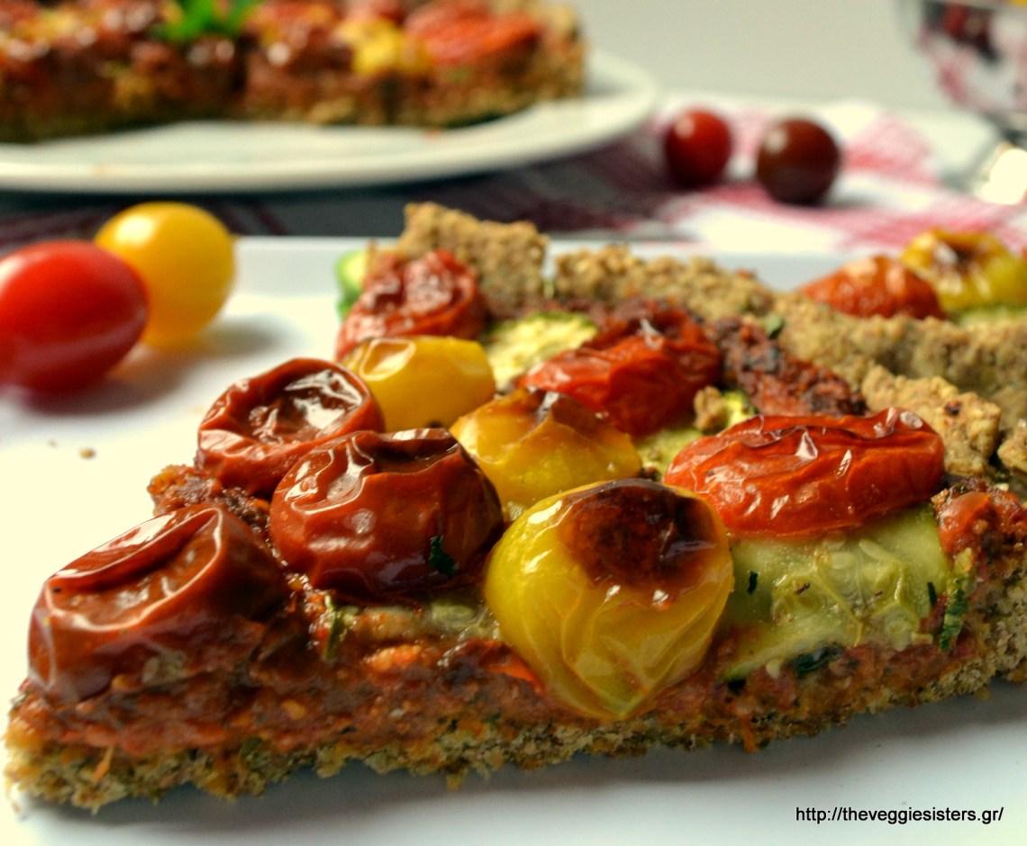 Νηστίσιμη τάρτα με ντοματίνια κ πέστο κόκκινης πιπεριάς – Vegan cherry tomato red pepper pesto tart