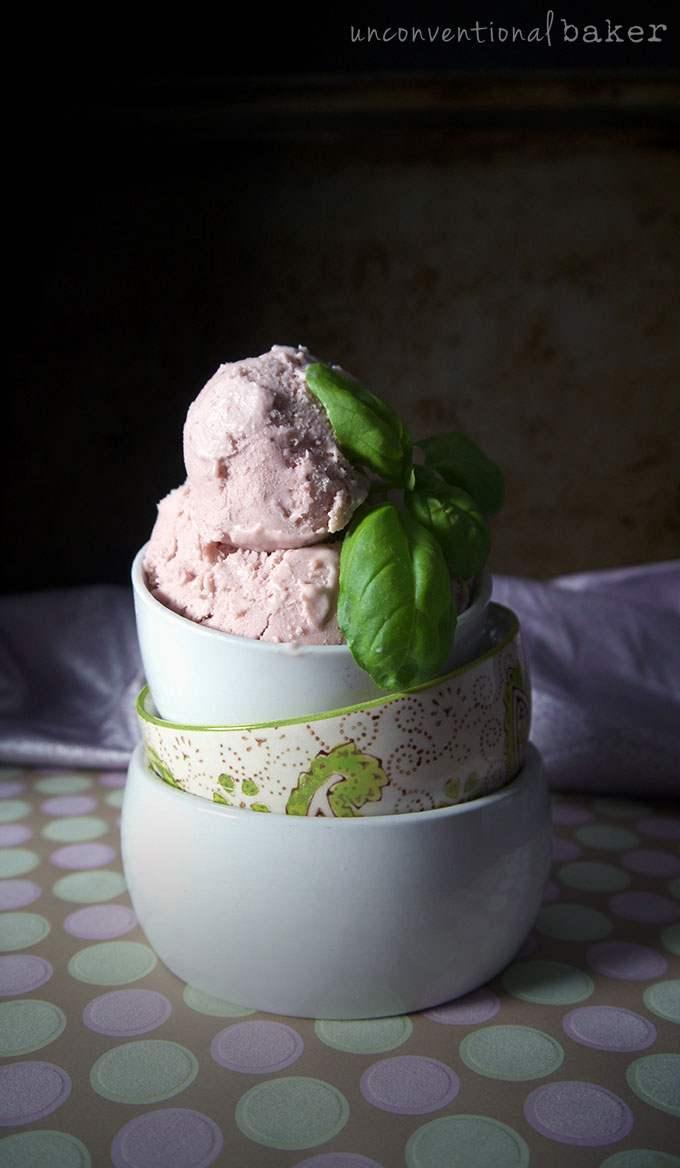 Balsamic strawberry & basil dairy-free ice cream