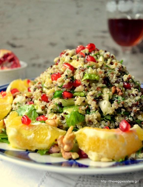 Γιορτινή σαλάτα με κινόα, πορτοκάλι, ρόδι κ καρύδια - Festive quinoa salad with orange, walnuts and pomegranate