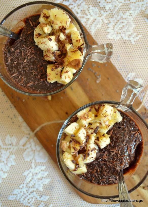 Μους σοκολάτα μπανάνα