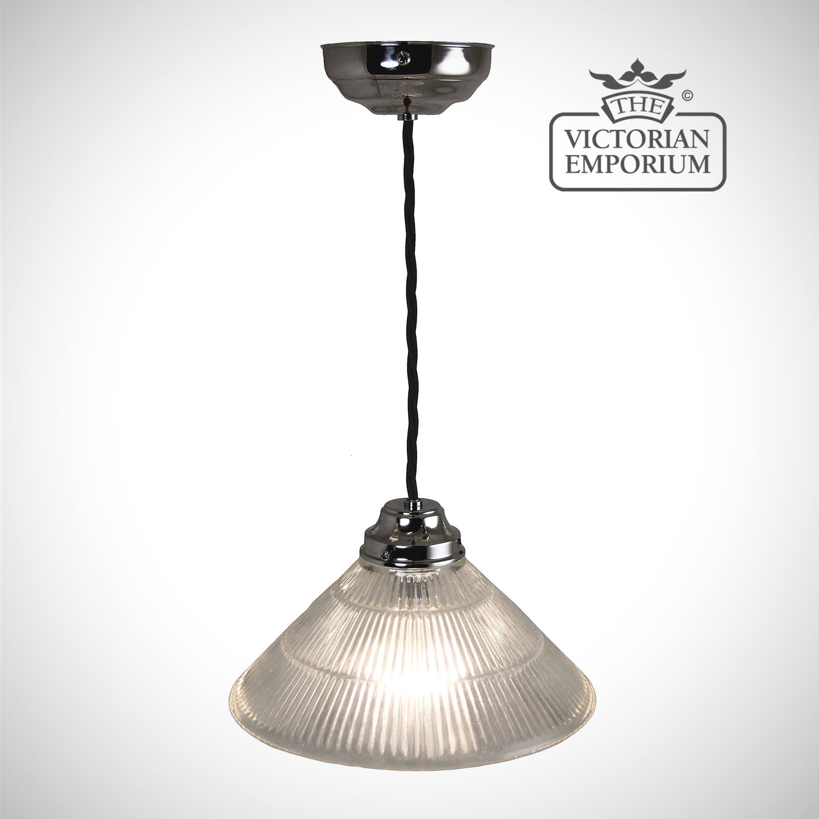 Cone Shaped Pendant Light Reeded Glass Cone Shaped Ceiling Light In Chrome